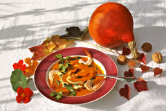 Squash soup. Homemade delicious squash soup made of Hokkaido pumpkin, garnished with roasted pumpkinseeds, coriander, shrimps and cream Royalty Free Stock Photo