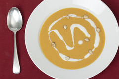 Squash soup from above Royalty Free Stock Images