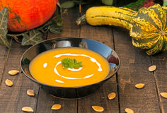 Squash soup. Squash cream soups full of minerals and vitamins Royalty Free Stock Photo