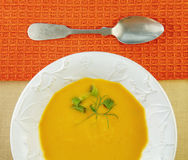 Squash Soup in White Bowl Stock Photos