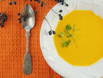 Squash Soup in White Bowl on Orange Cloth Stock Image