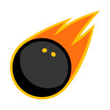Squash sport rubber ball comet fire tail flying logo. Isolated symbol icon badge Royalty Free Stock Image