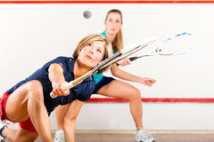 Squash sport - women playing on gym court. Two women playing squash as racket sport in gym, it might be a competition Stock Images