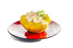Squash stuffed meat. Squash stuffed with vegetables and meat with mayonnaise and parsley Stock Images
