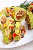 Squash stuffed with vegetables and meat Stock Photography
