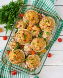 Squash stuffed with vegetables and meat. Royalty Free Stock Images