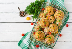 Squash stuffed with vegetables and meat. Stock Image