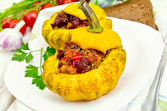 Squash yellow stuffed in plate on board Royalty Free Stock Image