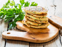Squash and  zucchini fritters Royalty Free Stock Image