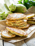 Squash and  zucchini fritters Royalty Free Stock Images