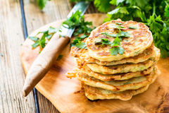 Squash and  zucchini fritters Royalty Free Stock Photography