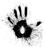 Squashed bed bug. Black and white grunge illustration of a bed bug squashed by a hand Royalty Free Stock Photos