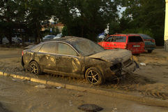 Squashed cars in flood Varna Bulgaria June 19. These are the consequences of record rain that poured over the city of Varna on June 19th, 2014.tidal wave of tons royalty free stock photos