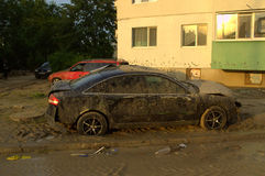 Squashed cars in flood Varna Bulgaria June 19. These are the consequences of record rain that poured over the city of Varna on June 19th, 2014.tidal wave of tons stock photo