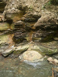 Squashed Concretion Center Stone. By Shale Hillside in a Delaware County Ohio Park royalty free stock images