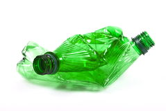 Squashed plastic green bottles Stock Photos