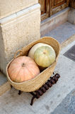 Squashes. In a basket outside a cafe in Pollensa, Mallorca, Spain Stock Photography