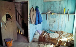 Squat in a abandonned house. A colored squat in a abandonned house royalty free stock photo