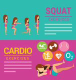 Squat and Cardio exercises banner Stock Photography