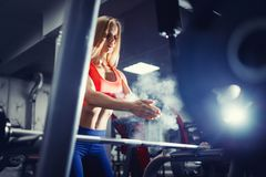 Squats with a barbell body fitness royalty free stock image
