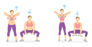 Squats exercise for legs. Squats exercise with dumbbels for legs on white background. Healthy lifestyle. Workout for legs. Exercises for fat women. Frpm at to Royalty Free Stock Photography