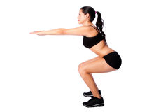 Squats fitness sport training gym workout Stock Images