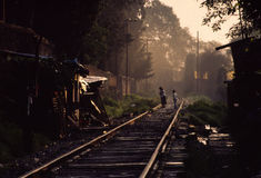 Squatters. Huts line railroad tracks outside a Mexico City cemetery royalty free stock photography