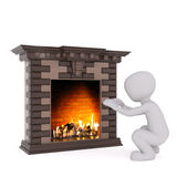 Squatting 3D rendered figure warms his hands. At large lit fireplace against a white background Stock Photos