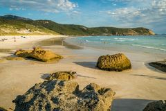 Squeaky beach at sunset in Wilsons Promontory national park Stock Photos