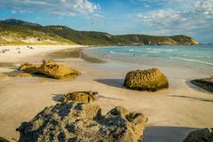 Squeaky beach at sunset in Wilsons Promontory national park Royalty Free Stock Photo
