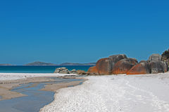 Squeaky Beach Tidal River flow in Wilsons Promontory in Victoria Australia. AUS Royalty Free Stock Images