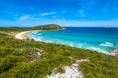 Squeaky Beach Victoria. Top view of Squeaky Beach in Wilsons Promontory National Park, Victoria, Australia Stock Photo