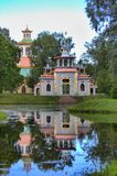 Squeaky gazebo in the Catherine Park. Squeaky & x28;Chinese& x29; gazebo  in the Catherine Park. Tsarskoye Selo, Saint Petersburg. Russia Royalty Free Stock Photo