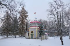 Squeaky pavilion in Catherine Park. Squeaky pavilion in the Catherine Park in Tsarskoye Selo Stock Image