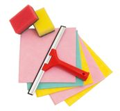 Squeegee, sponge and rag on white and ready for spring cleaning Stock Photos