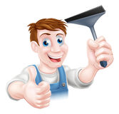 Squeegee window cleaner Stock Photo