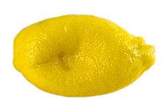 Squeezed lemon. The fruit squeezed out to last drop, is isolated Royalty Free Stock Images