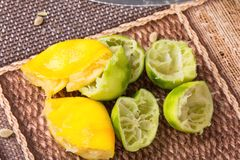 Squeezed lemons and limes. Royalty Free Stock Images