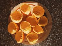 Squeezed oranges Royalty Free Stock Images