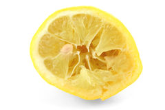 Squeezed Out Lemon On White Royalty Free Stock Photo