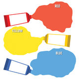 Squeezed Primary Color Tubes Stock Photos