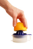 Squeezer da laranja da mão fotografia de stock
