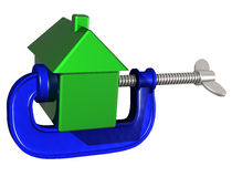 Squeezing house prices. Isolated illustration of a house being squeezed in a g clamp Royalty Free Stock Photo