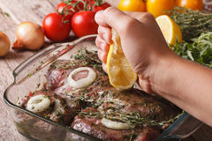 Squeezing lemon juice in the marinade for meat. horizontal Stock Image