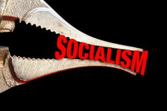 Squeezing Socialism Tight. With chrome pliers stock photography