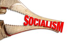 Squeezing Socialism Tight. With steel  pliers royalty free stock images