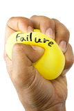 Squeezing Yellow Balloon. Concept failure destruction stock photography
