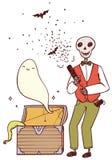 Squelette avec des boutons-pression de partie et un fantôme du coffre Photo libre de droits