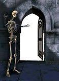 Squelette avec la porte Photos libres de droits