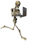 Squelette courant avec l'ordinateur portatif Illustration Stock